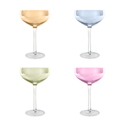 Pastel Assorted Glassware Champagne Saucer 275ml - Set of 4 | M&W
