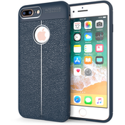 iPhone 8 Plus Auto Camera Focus Leather Effect Gel Case- Blue