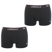 Lonsdale 2 Pack Mens Trunk Boxer Shorts Navy Medium