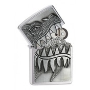 Zippo Surprise Fire Breathing Dragon Brushed Chrome Lighter