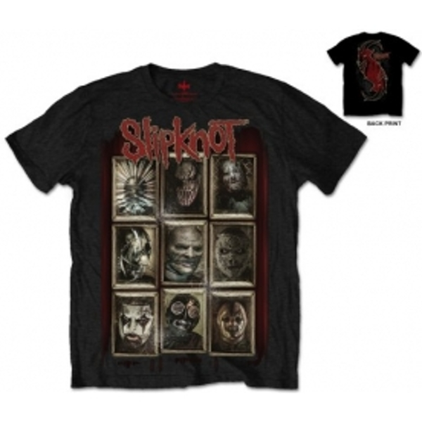 Slipknot New Masks Mens Blk T Shirt Large