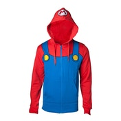 Super Mario Bros - Novelty Mario Men's Large Full Length Zipped Hoodie - Multi-colour