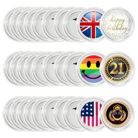 Clear Button Pin Badges - Set of 30 | Pukkr