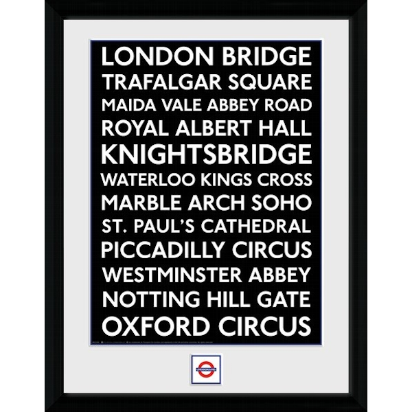 """Transport For London Places 12"""" x 16"""" Framed Collector Print"""