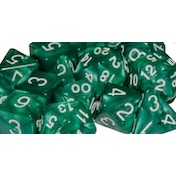 Marble Green Poly 15 Set Dice