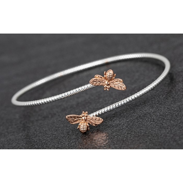 Honey Bee Detailed Two Tone Bangle