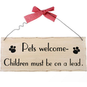 Pets Welcome Hanging Sign