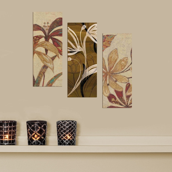 XTP011 Multicolor Decorative Framed MDF Painting (3 Pieces)