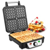 Savisto 4 Slice Stainless Steel Waffle Maker UK Plug