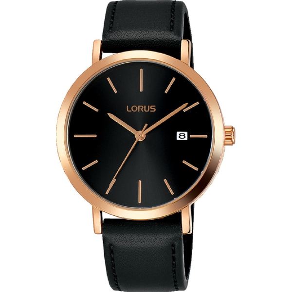 Lorus RH934JX9 Mens Dress Watch with Sunray Black Dial & Rose Gold Baton Hour Markers