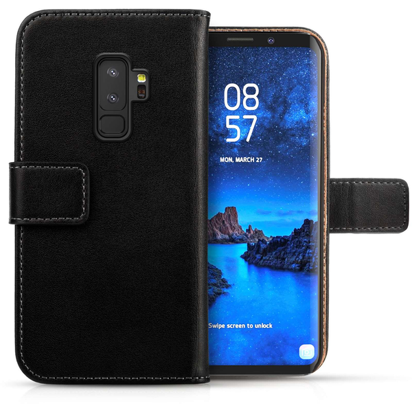 new products 09e32 3e3cd Samsung Galaxy S9 Plus Genuine Leather Wallet - Black