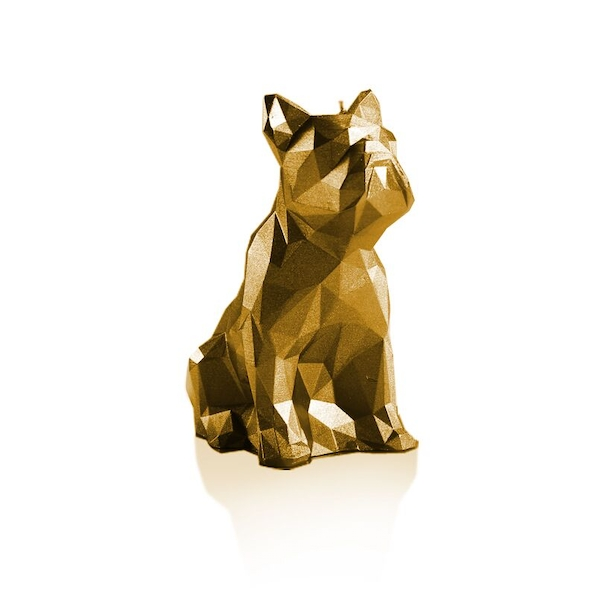 Gold Low Poly Bulldog Candle