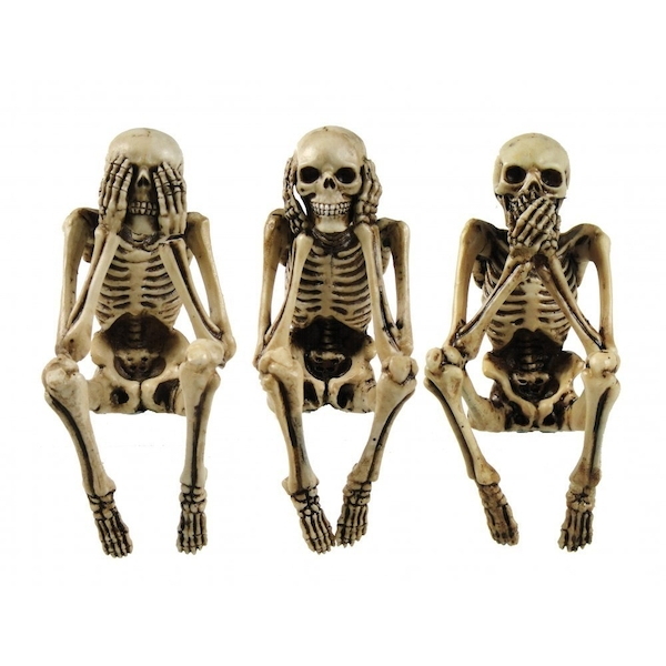 3 Wise Skeleton Gothic Shelf Sitters Ornament