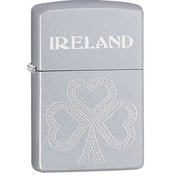 Zippo Shamrock Satin Chrome Windproof Lighter