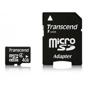 4GB MicroSDHC Flash Card with Adaptor Class 4 TS4GUSDHC4