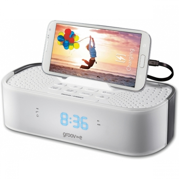 Ex-Display Groov-e TimeCurve Alarm Clock Radio with USB Charging Station White UK Plug