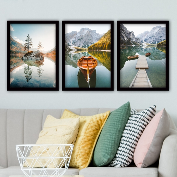 3SC18 Multicolor Decorative Framed Painting (3 Pieces)