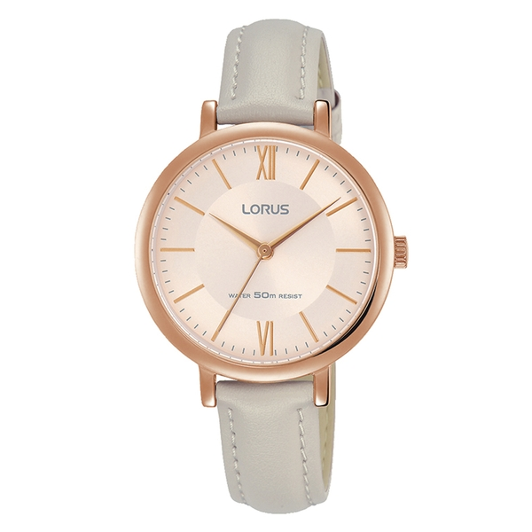 Lorus RG264MX9 Ladies Elegant Beige Leather Strap Watch with Rose Gold Plated Case