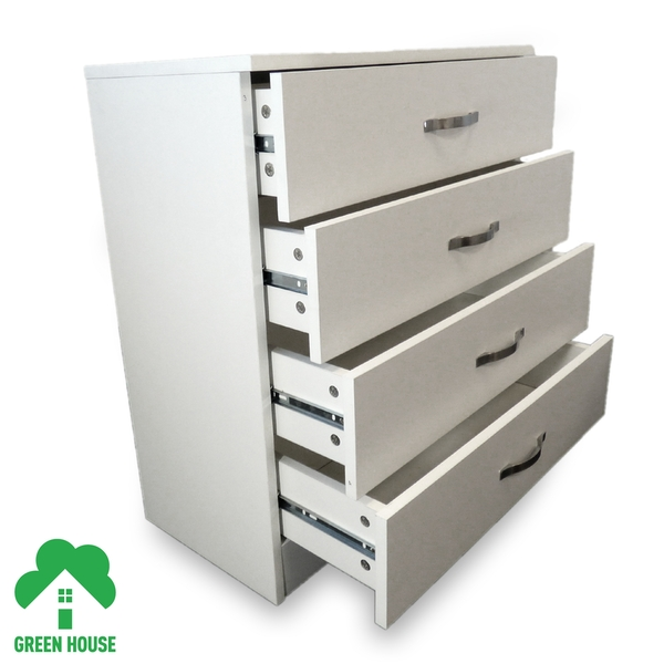 4 Chest Of Drawers White Bedside Cabinet Dressing Table Bedroom Furniture Wooden Green House - Image 2