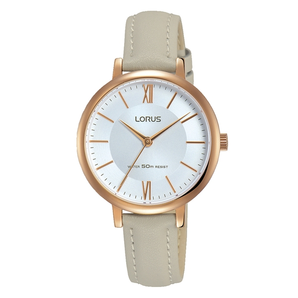 Lorus RG264LX7 Ladies Elegant Light Grey Leather Strap Watch with Rose Gold Plated Case