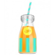 Yum Yum!! Green/Yellow Drinking Bottle With Straw
