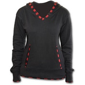Gothic Rock Red Checkstrip Women's Large Hoodie - Black