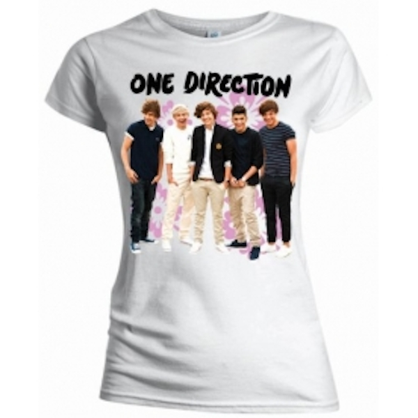 One Direction Flowers Skinny White TS: Large