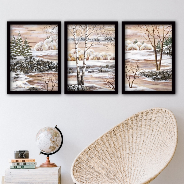 3SC152 Multicolor Decorative Framed Painting (3 Pieces)