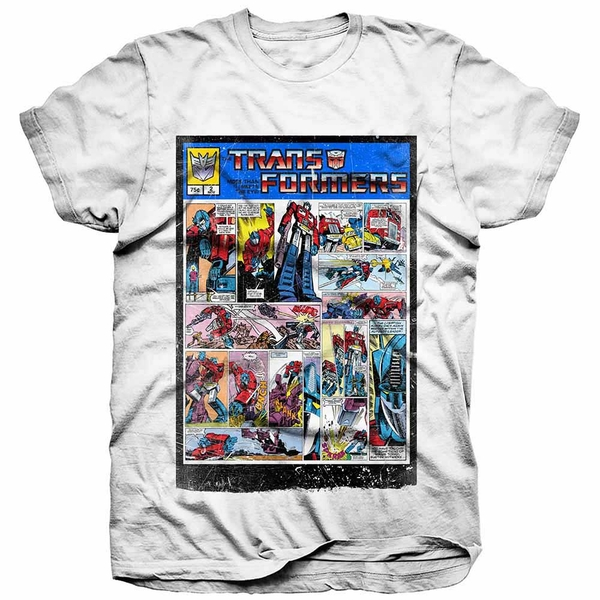 Hasbro - Transformers Comic Strip Unisex Small T-Shirt - White