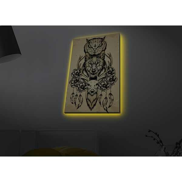 4570MDACT-061 Multicolor Decorative Led Lighted Canvas Painting