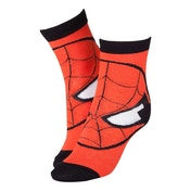 Marvel Comics Spider-Man Adult Male Red Mask Close-up Crew Socks 43/46