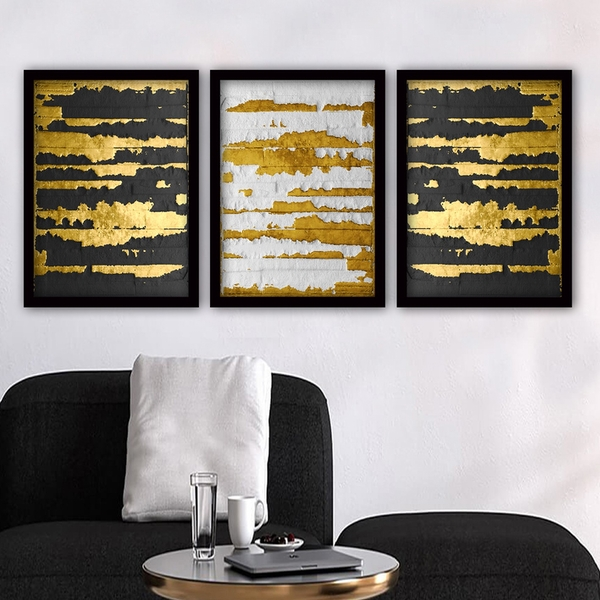 3SC97 Multicolor Decorative Framed Painting (3 Pieces)