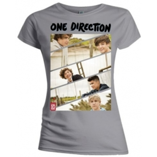 One Direction Band Sliced Skinny Grey TS: Large