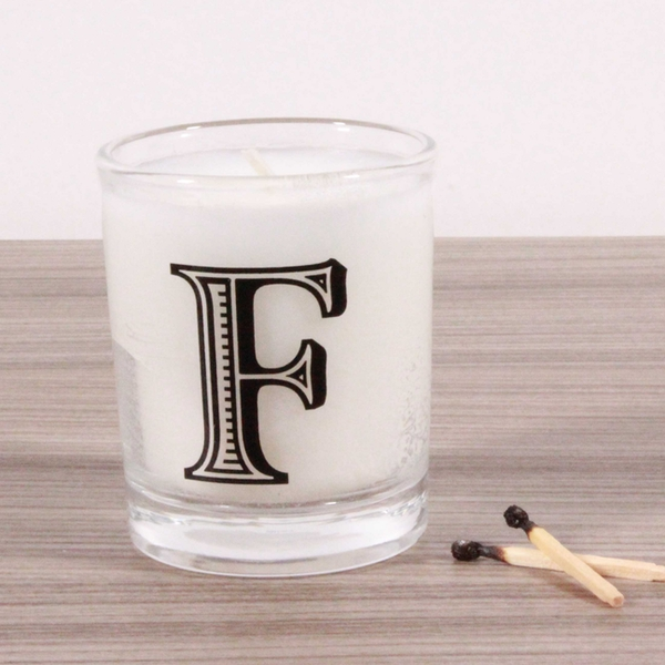 F Alphabet Candle in Votive Glass