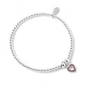 Pink Crystal Heart Charm with Sterling Silver Ball Bead Bracelet