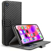 Caseflex iPhone XR Carbon Fibre PU Wallet Case  - Black