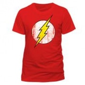 DC COMICS The Flash Logo T-Shirt, Unisex, Large, Red