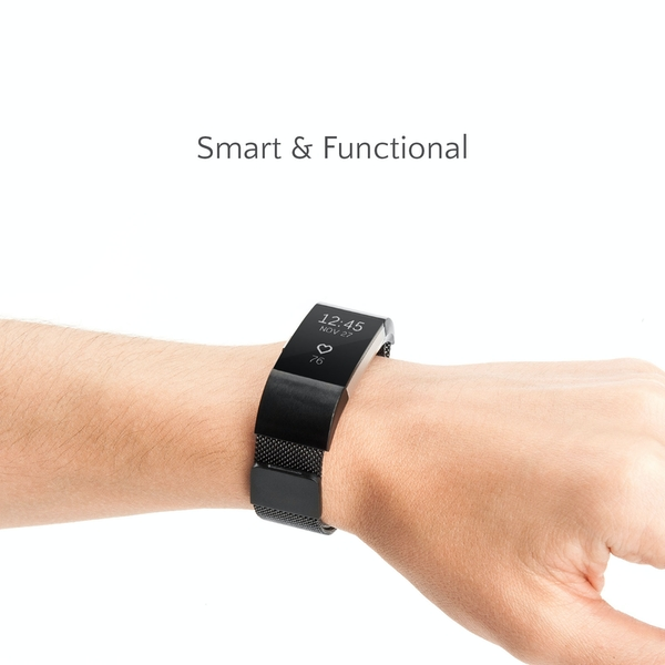 Proworks FitBit Charge 2 Milanese Metal Strap - Black - Image 2