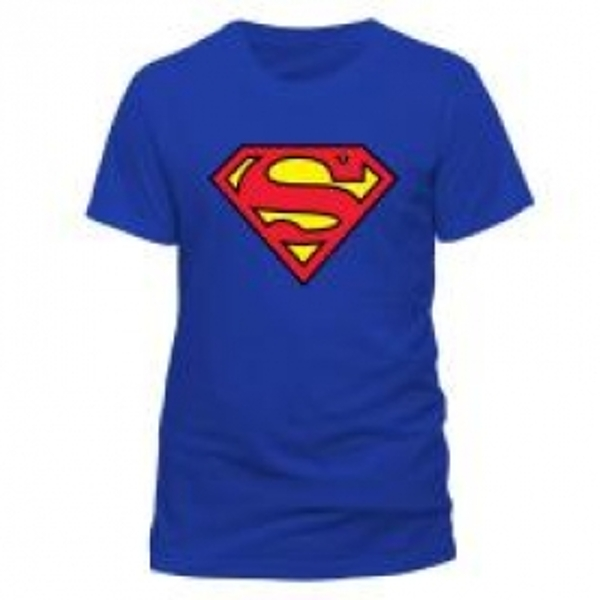DC COMICS Superman Logo T-Shirt, Unisex, Small, Blue
