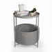 Circular End Table with Fabric Storage Basket Light Grey | M&W - Image 5