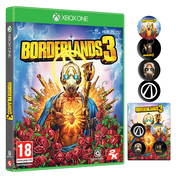 Borderlands 3 Xbox One Game + Pin Badge Set (Gold Weapon Skins & Trinket DLC)