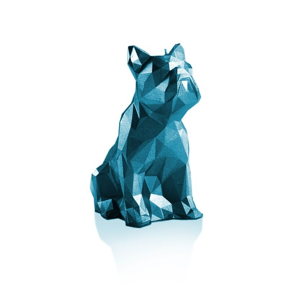 Blue Metallic Low Poly Bulldog Candle