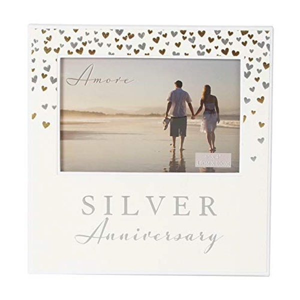 "6"" x 4"" - AMORE BY JULIANA? Photo Frame Silver Anniversary"