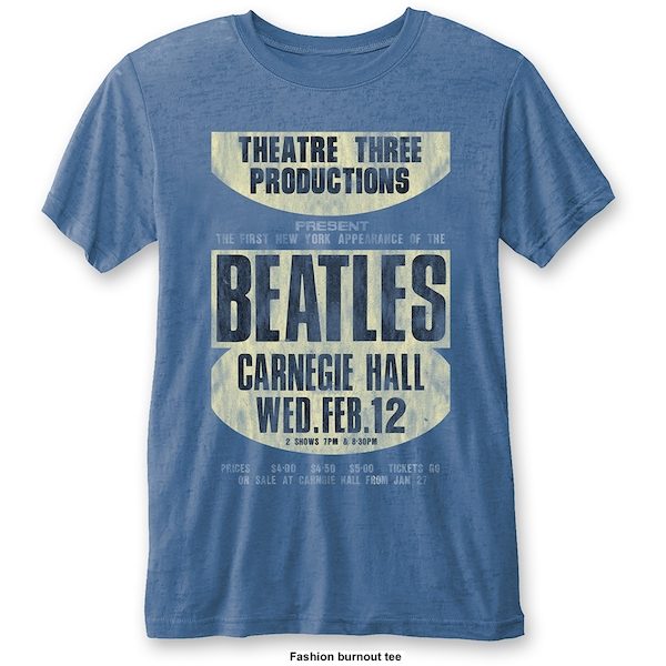 The Beatles - Carnegie Hall Unisex Small T-Shirt - Blue