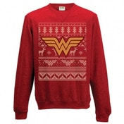 Wonder Woman Logo Unisex Small Christmas Jumper - Red