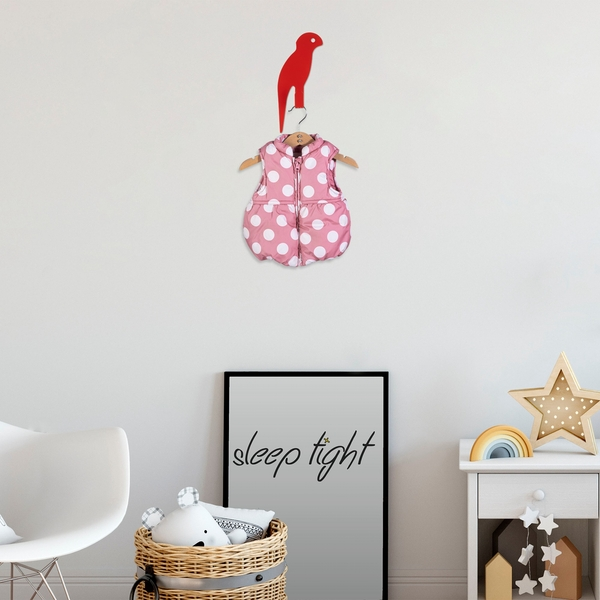 Parrot - Red Red Metal Wall Hook