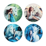 Unicorn Glass Coasters by Anne Stokes