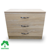 Wooden Chest of Drawers, Bedside Cabinet Bedroom Furniture Green House 3 Drawer Chest Oak