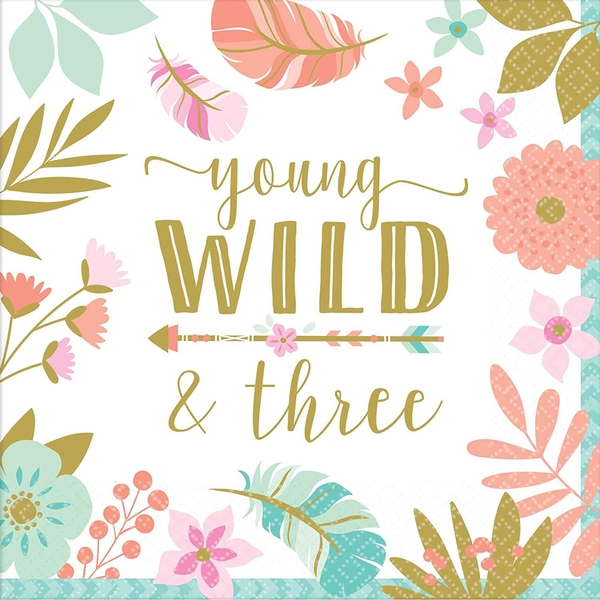 Young Wild & Three Napkins (Pack Of 16)