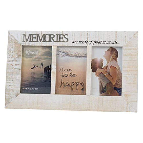 """4"""" x 6"""" - Moments Triple Distressed Photo Frame - Memories"""